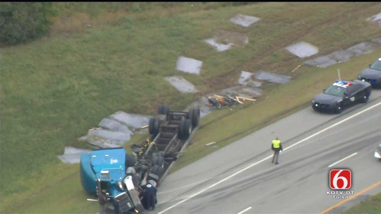Large Steel Plates Spill From Overturned Semi In Catoosa