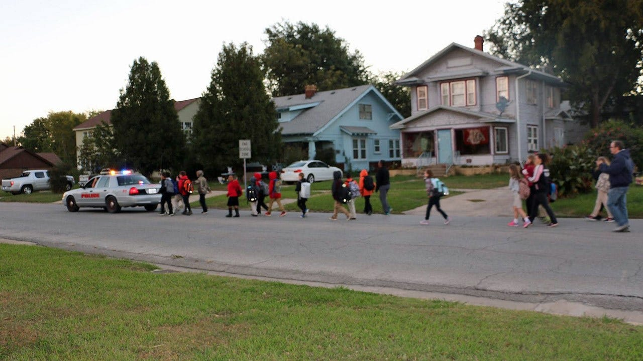 Okmulgee Students Participate In 'Walk To School Day'