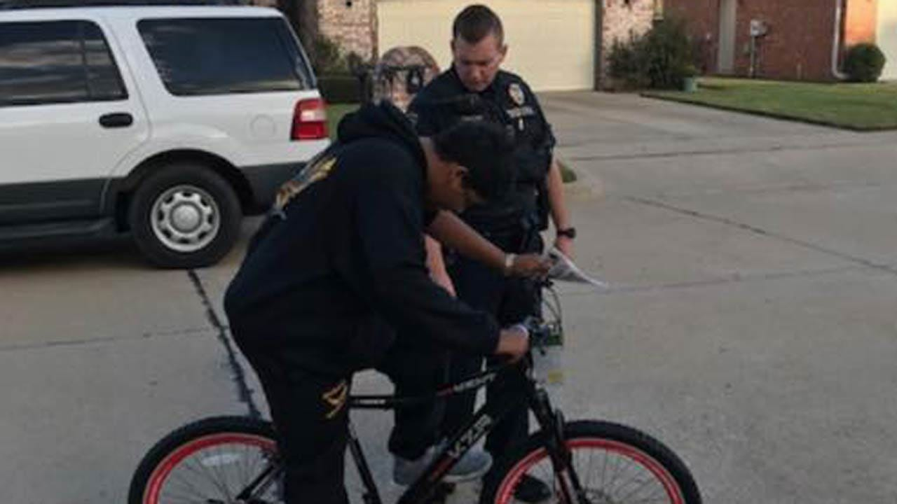 Officer Replaces Broken Arrow Teen's Damaged Bicycle