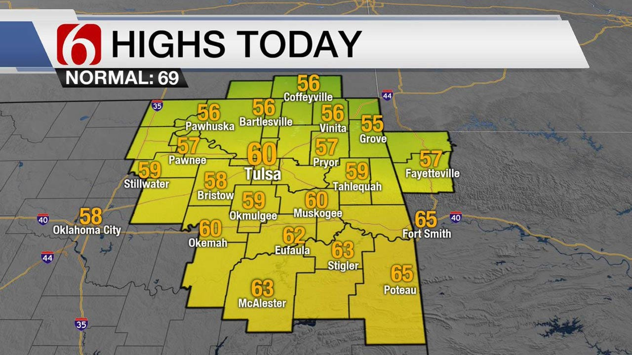 Breezy And Cool Across Eastern Oklahoma