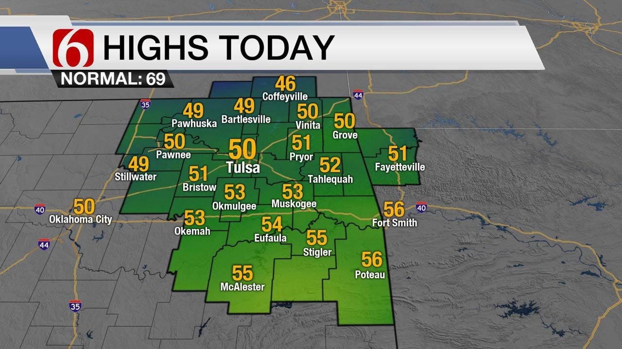 Cool With Light Rain Possible Across Eastern Oklahoma
