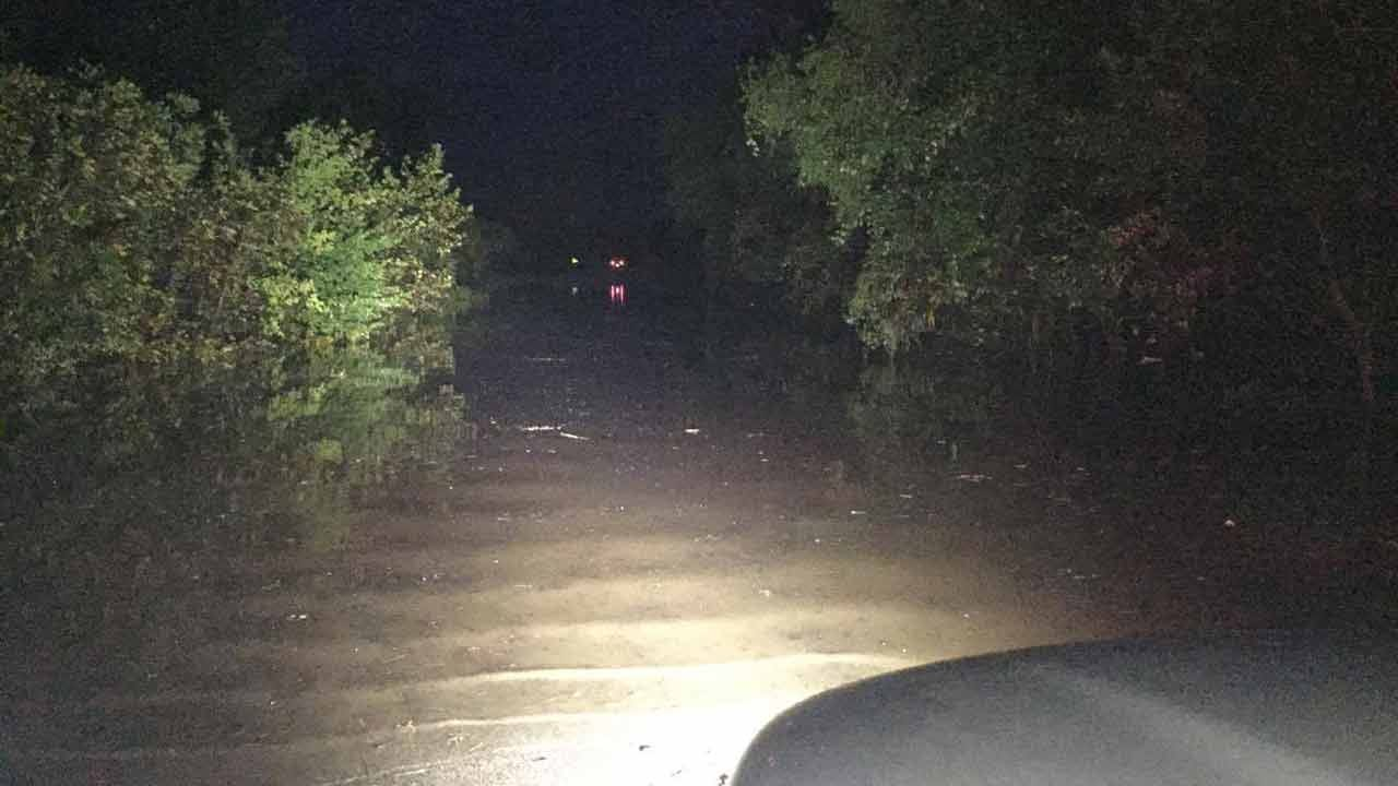 Car Crashes Into Volunteer Fire Engine In Pawnee Co. Flash Floods