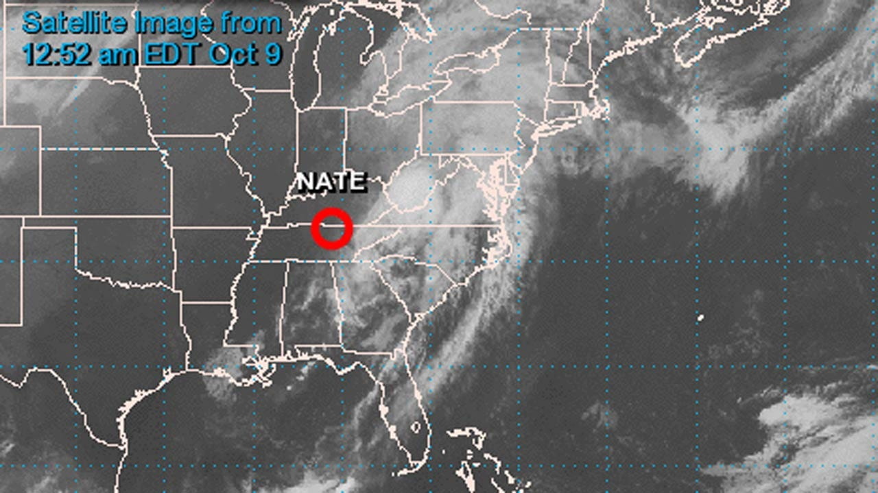 Tropical Depression Nate Moves Inland