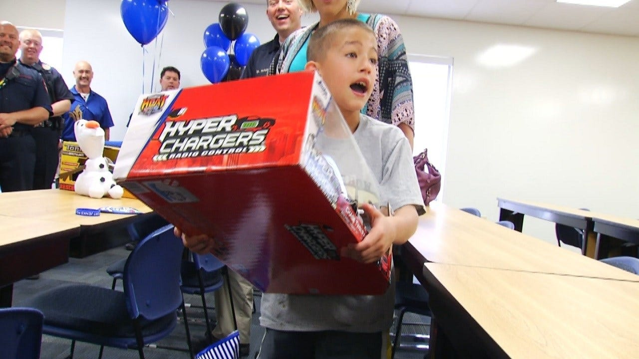 Jenks Police Throw Birthday Party For Boy With Autism