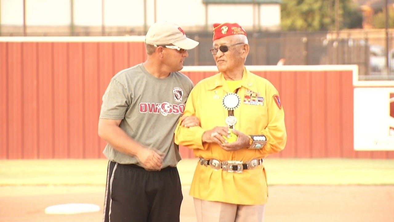 Navajo Code Talker Throws First Pitch At Owasso Game