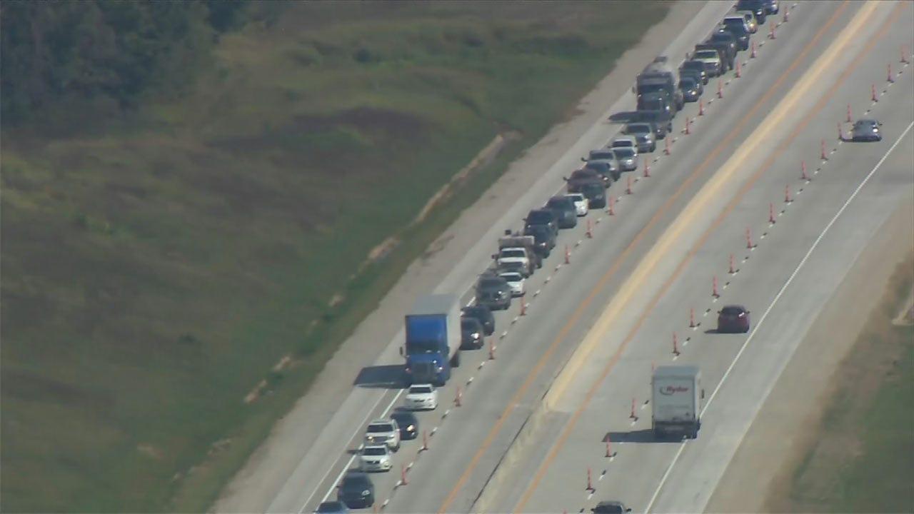 Rolled Over Semi Causes Backup On Muskogee Turnpike