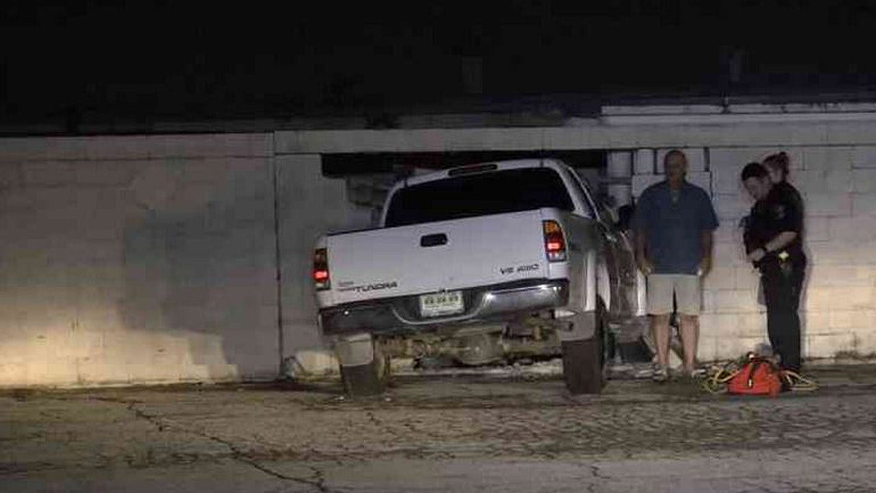 Stolen Truck Found Crashed Into Concrete Wall