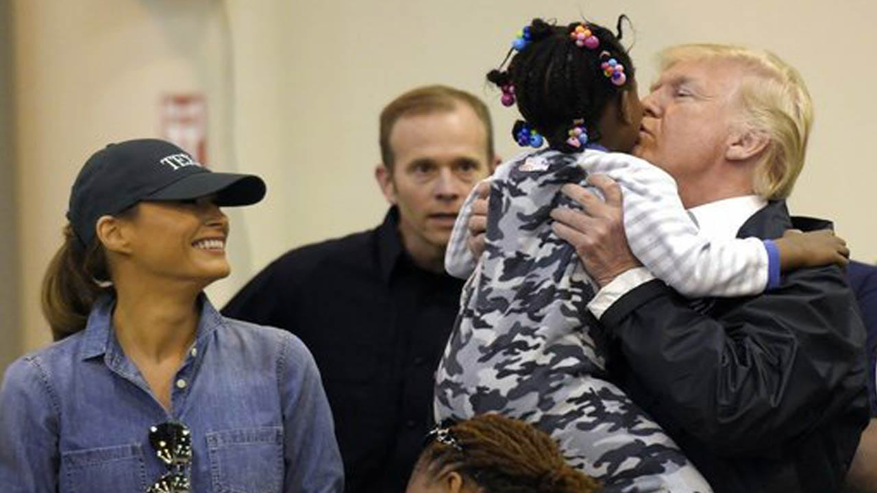 Trump Visits Harvey Victims In Houston