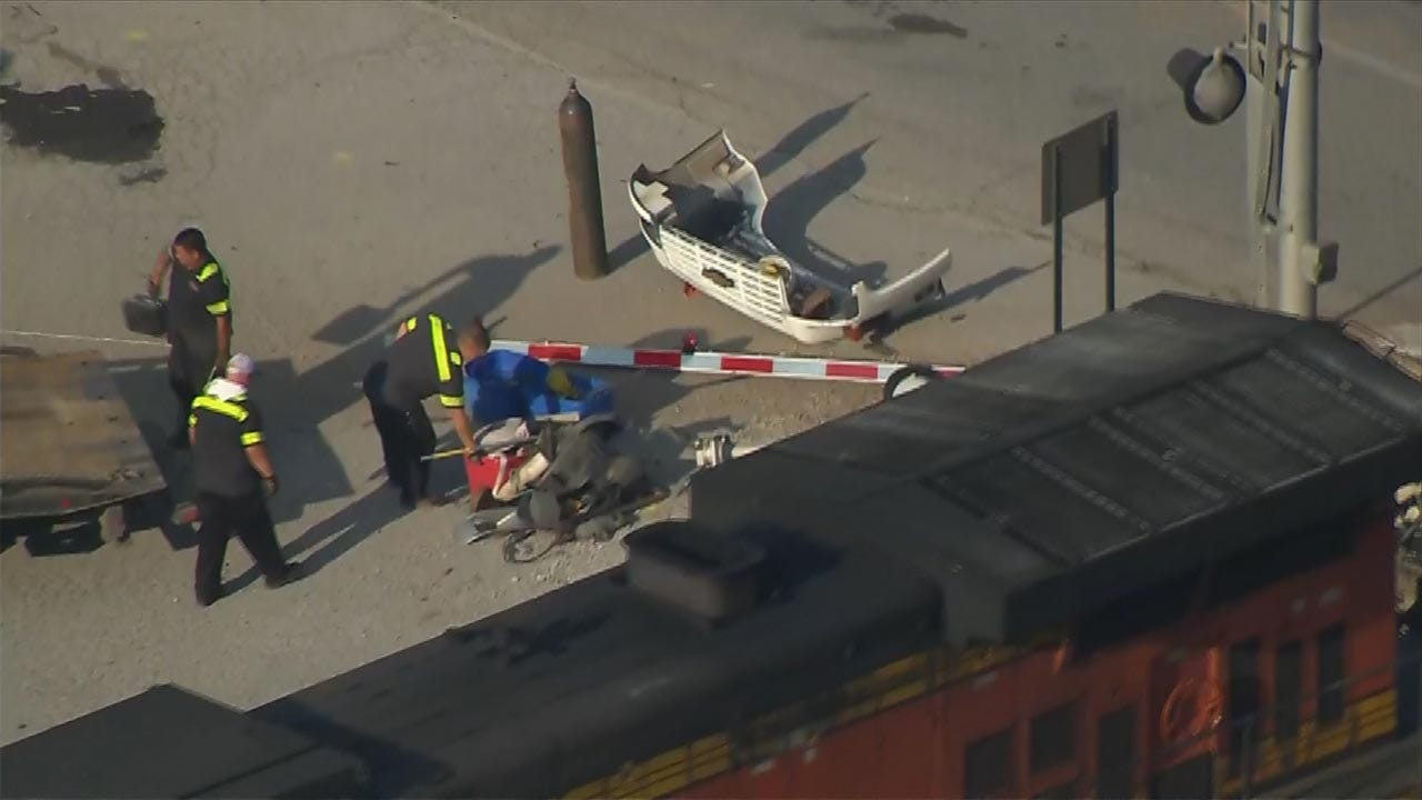 Train Hits Truck Being Towed In Tulsa