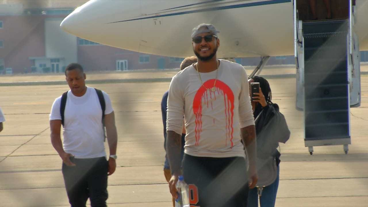 Thunder Fans Welcome Carmelo Anthony To Oklahoma