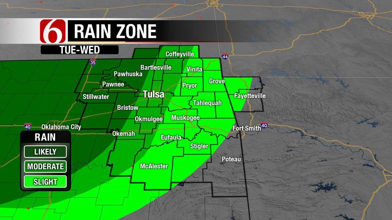 Rain, Cooler Air Moving Into Eastern Oklahoma