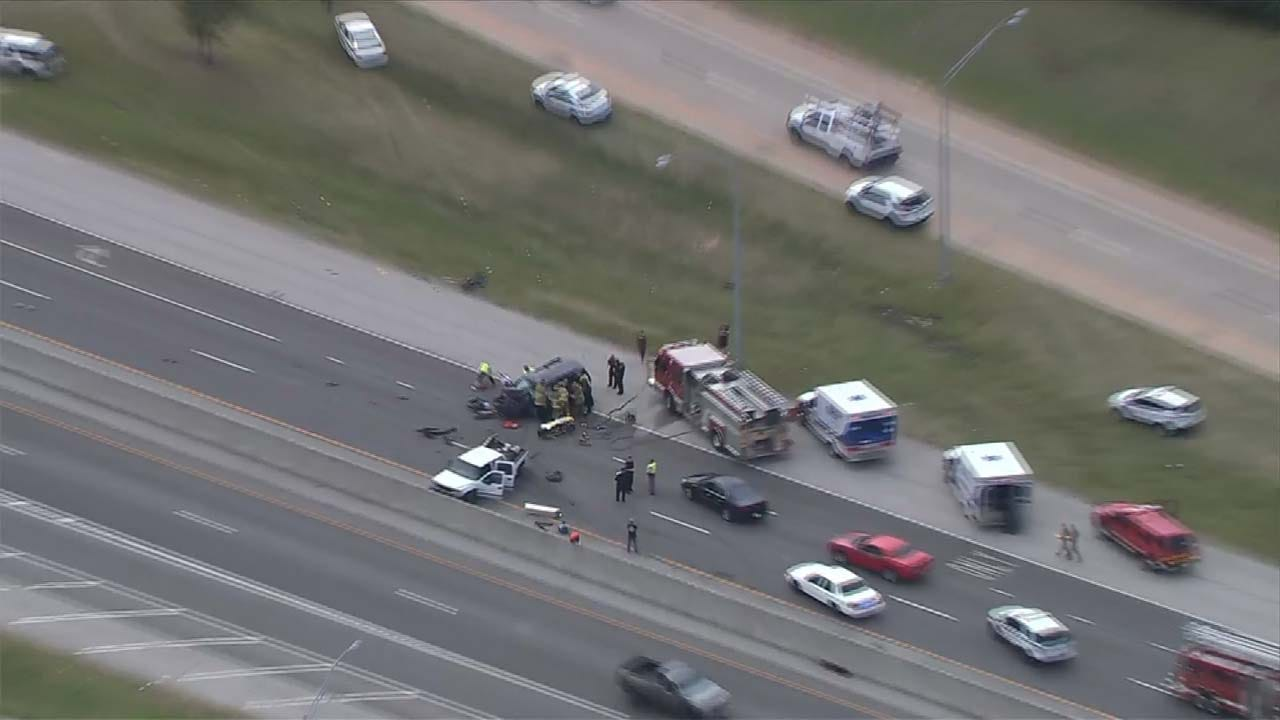 First Responders Rescue Driver After Crash On Tulsa Highway