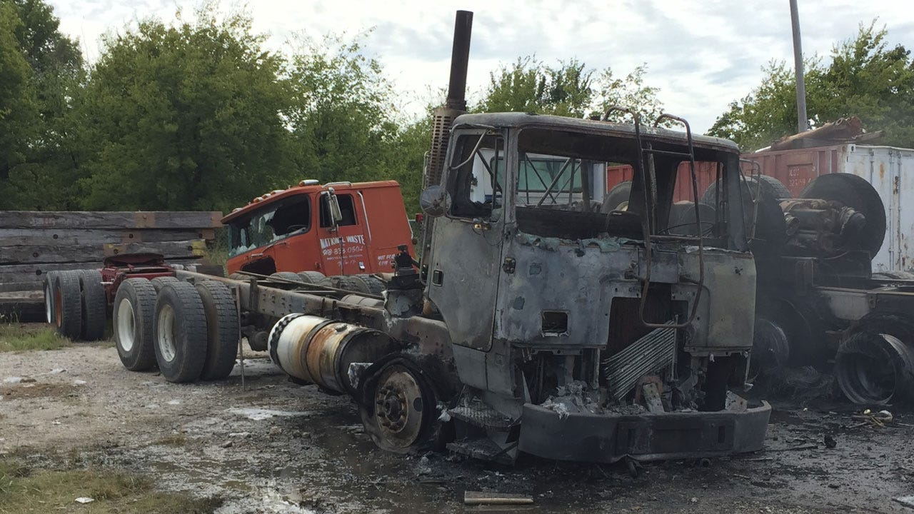 Semi Truck Catches Fire During Maintenance