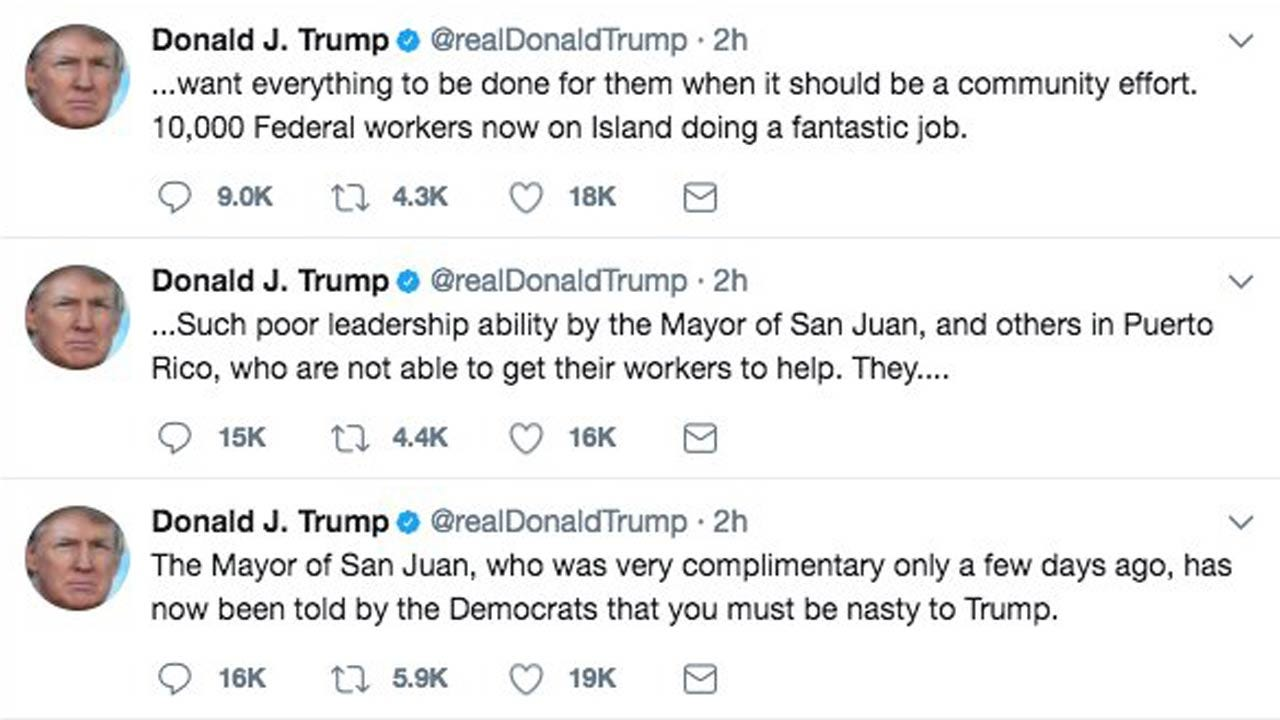 "Trump Blasts San Juan Mayor For ""Poor Leadership"""