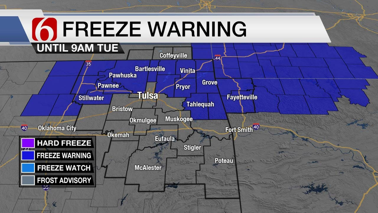 Chilly Before Tuesday Warmup Across Eastern Oklahoma