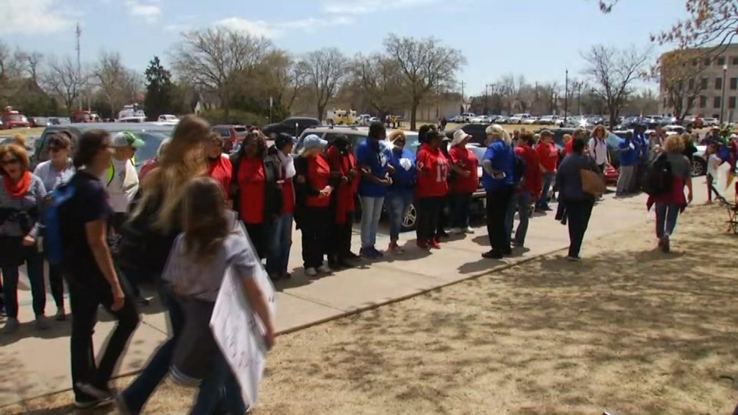 Teachers, Students Form Circle Around The Capitol