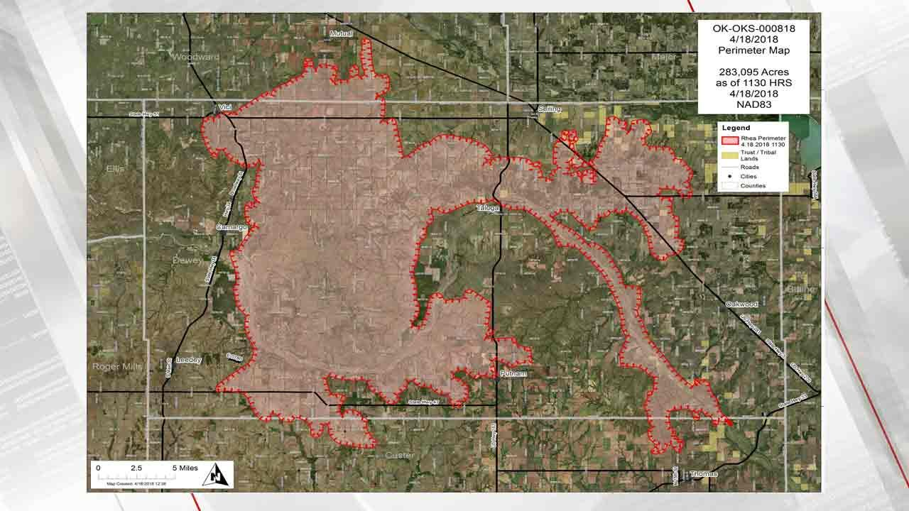 Largest Wildfire In Oklahoma Spreads Northeast