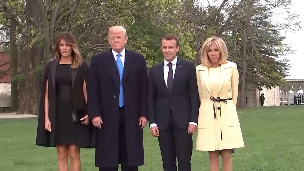 President Trump Welcomes French President To The White House