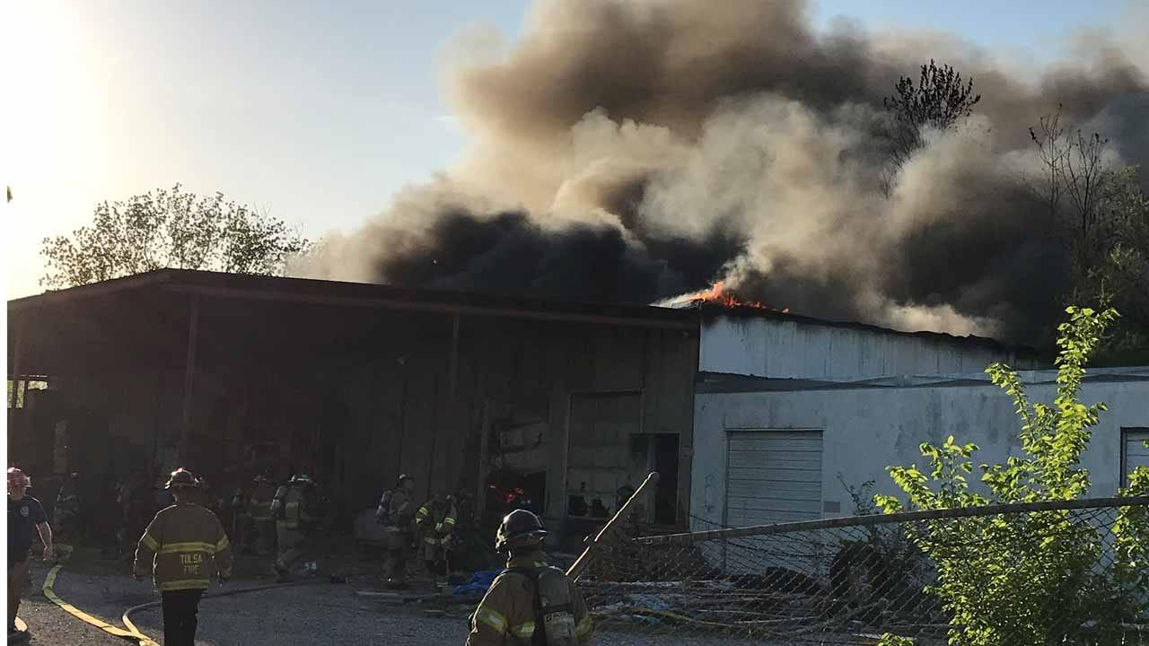 Tulsa Crews Battle Warehouse Fire