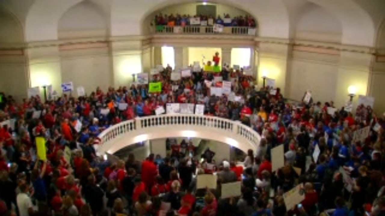 Out Of State Support For Teachers At Oklahoma City Rally