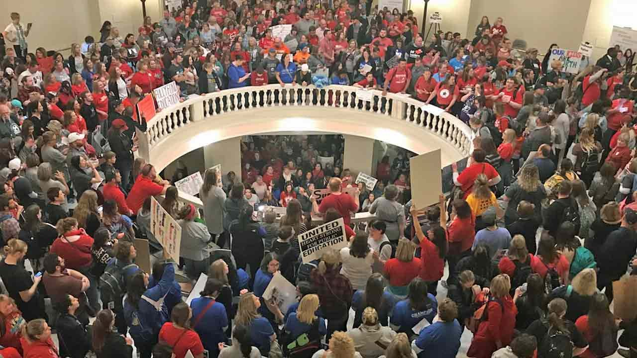 Shouts From Educators Fill The Oklahoma Rotunda