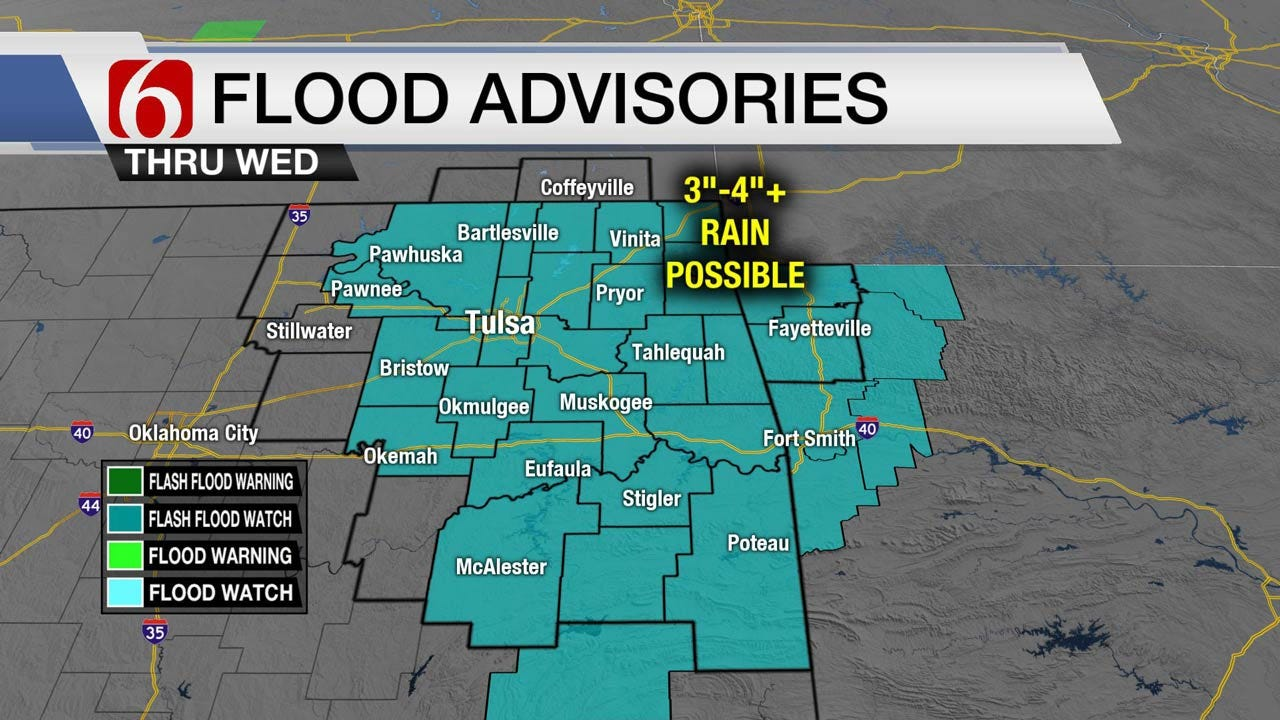 Flash Flood Watch For Most Of Eastern Oklahoma