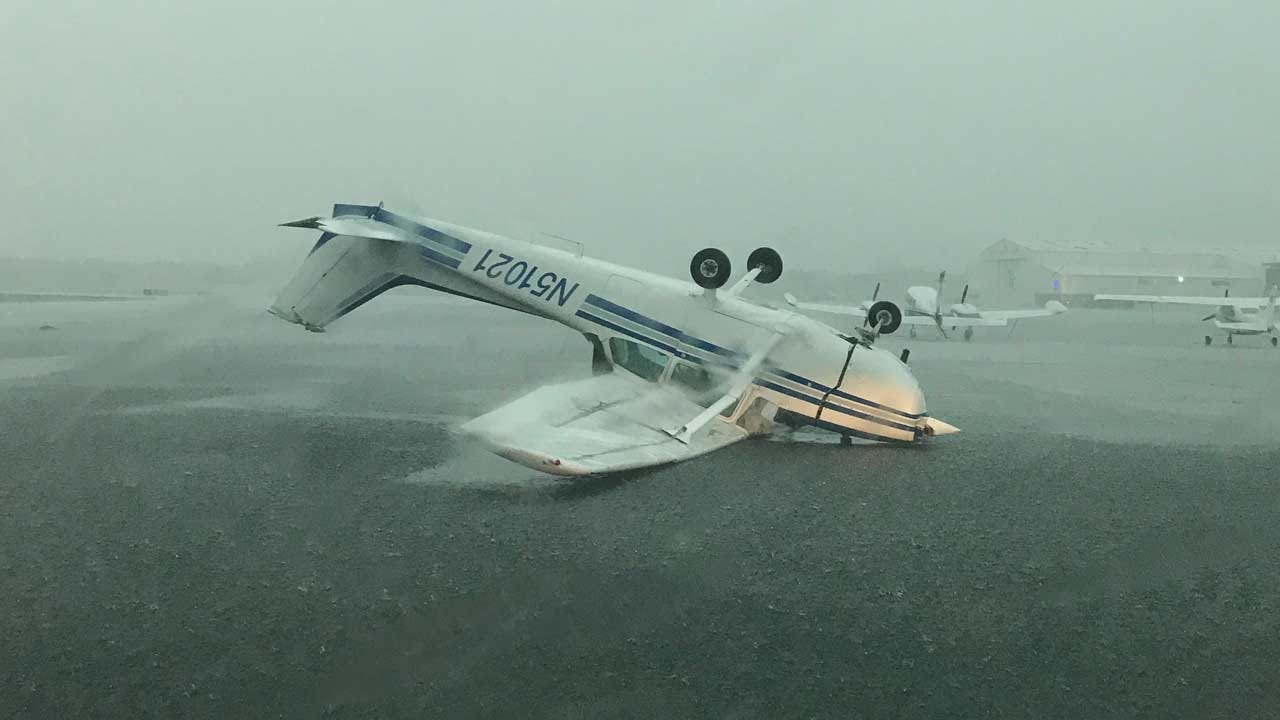 High Winds Damage Aircraft At Jones Riverside Airport