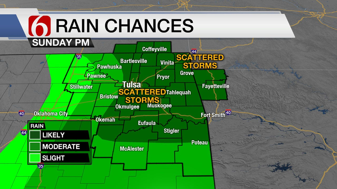 Sunday Storm Chances Continue Across Green Country