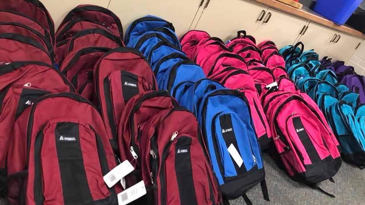 Tulsa County Deputies, James Mission Donate School Supplies