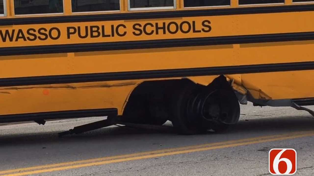 One Adult Hurt When Car Hits Owasso School Bus