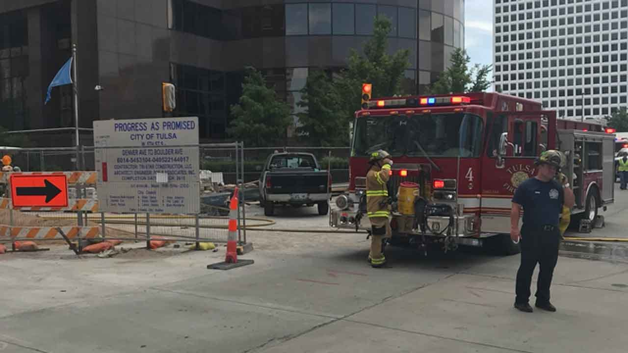 Gas Line Hit Near Mayo Hotel In Downtown Tulsa