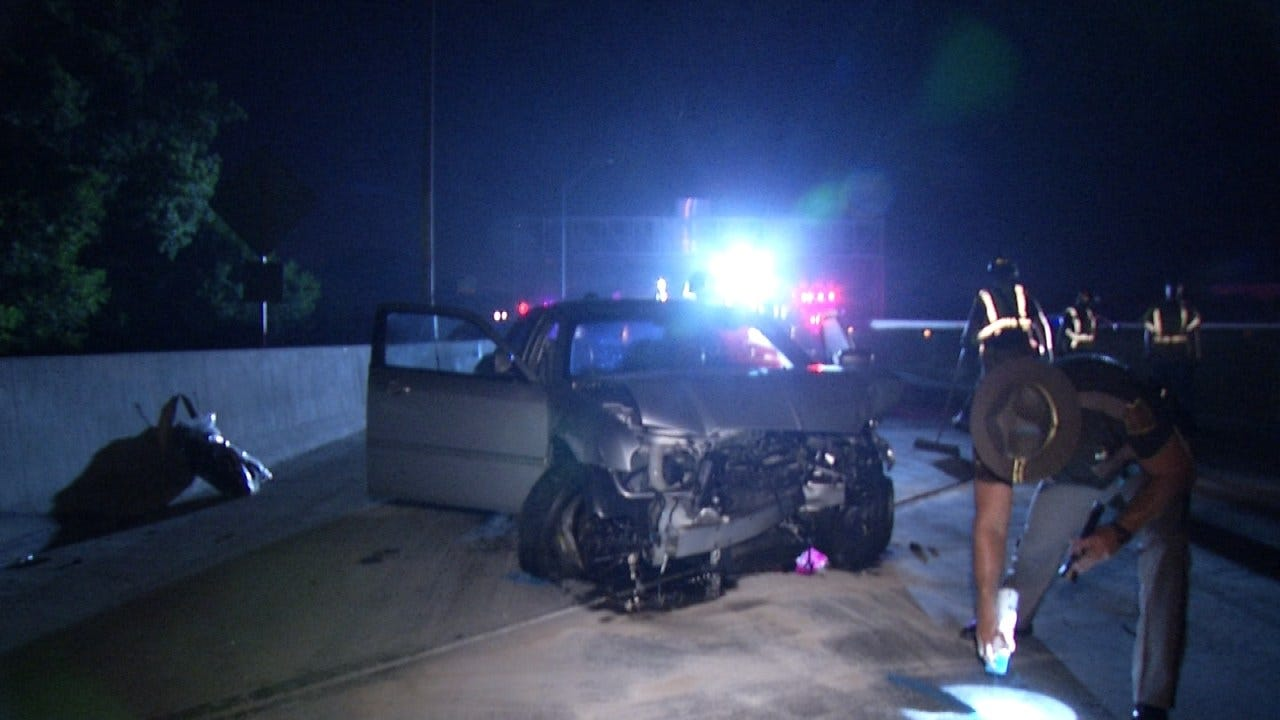 Driver Injured When Car Hits Parked ODOT Truck On Tulsa's IDL