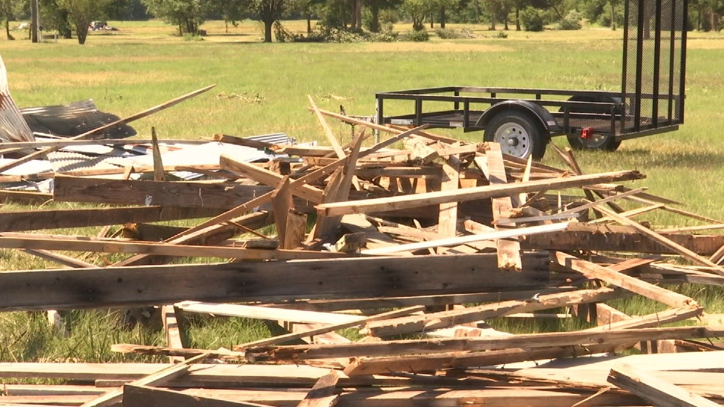 Pryor Family Barn Ripped Apart During Severe Storms
