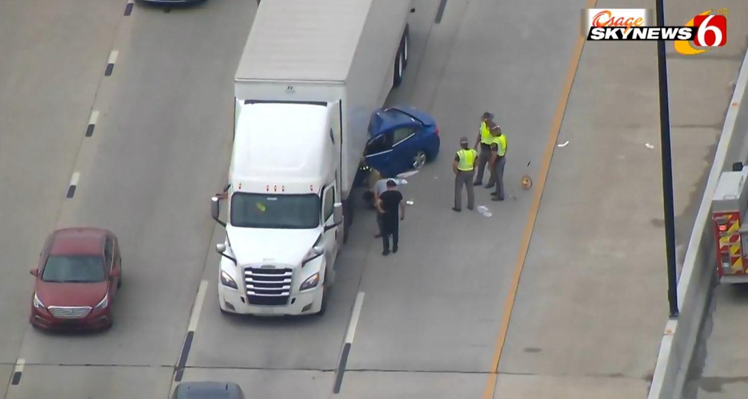 Car Pinned Under Semi-Trailer On Tulsa Highway
