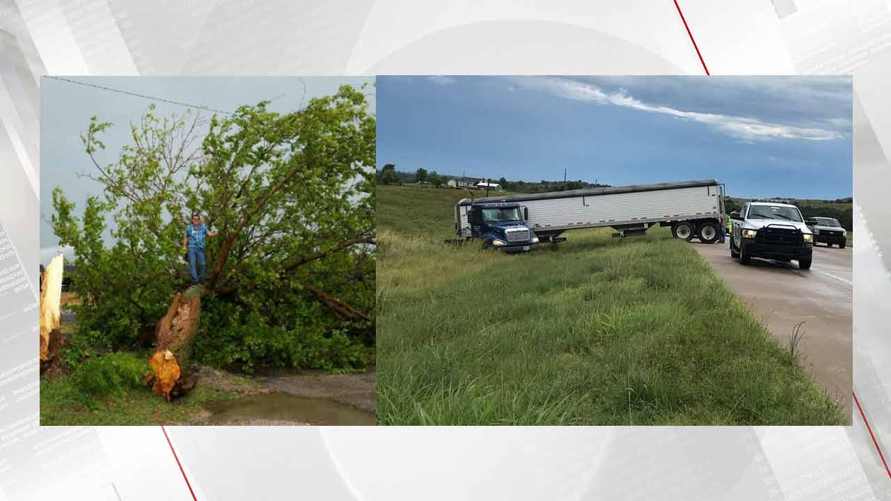 Strong Winds Blow Truck Off Road, Tear Down Trees In Northeast OK