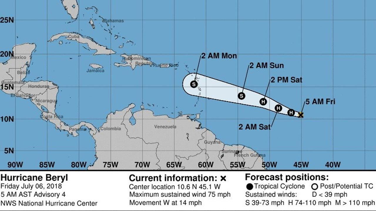 Hurricane Beryl, Season's First, Is Born