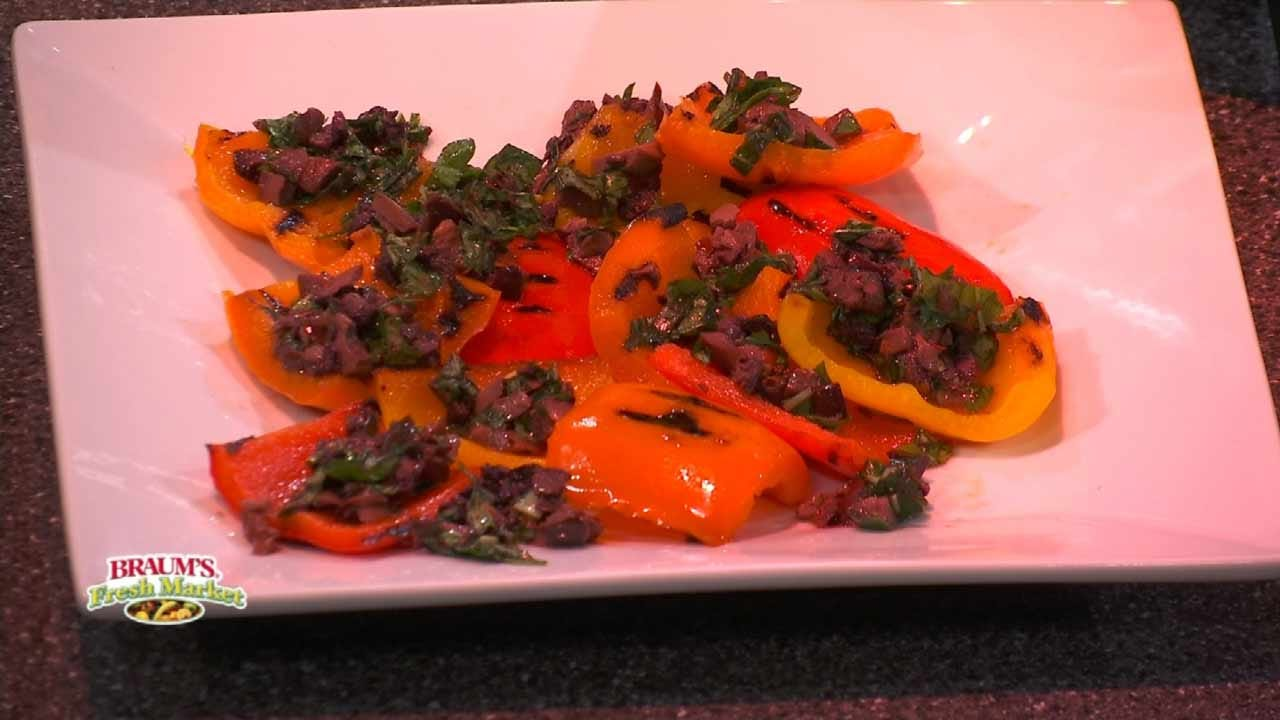 Grilled Bell Peppers With Olive Vinaigrette
