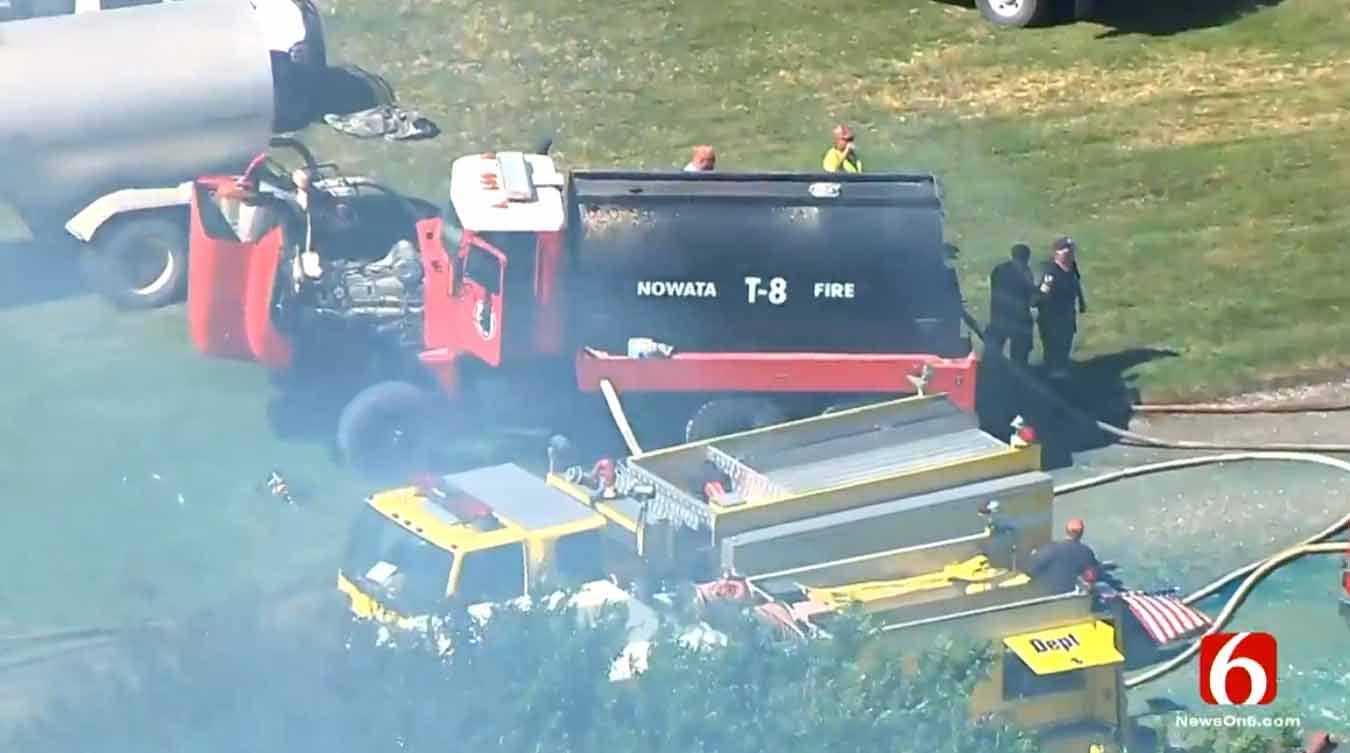Two Firefighters Hurt As Large Home Burns In Rural Nowata County