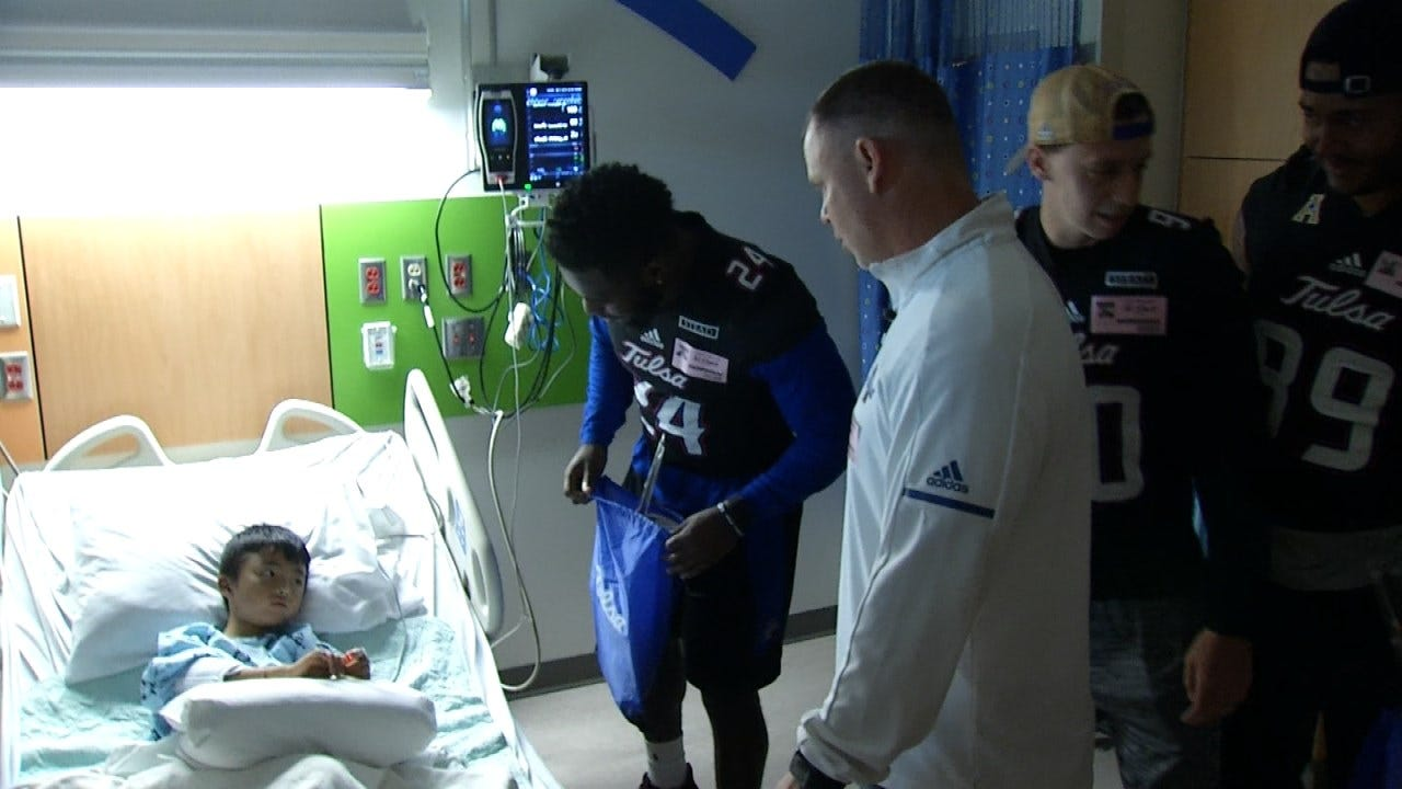TU Football Team Visits Fans At Children's Hospital At St. Francis