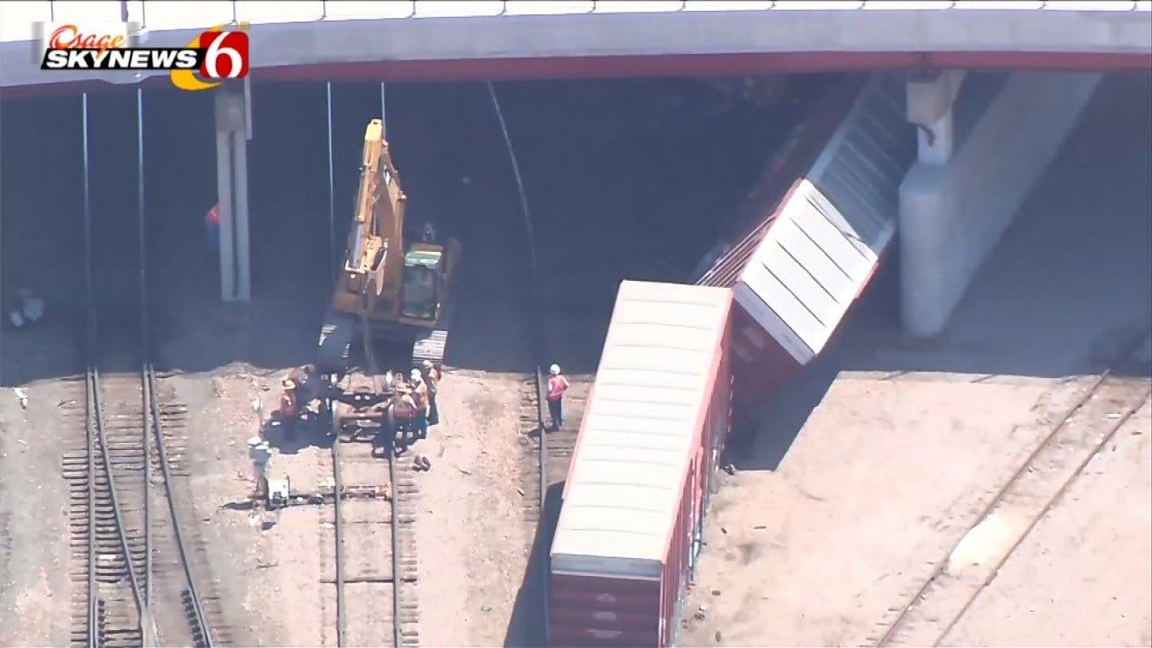 BNSF Crews Repair Track Following Tulsa Train Yard Derailment