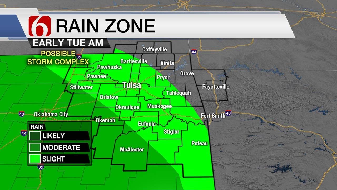 Mild Monday Across Eastern Oklahoma, Rain Chances Tuesday