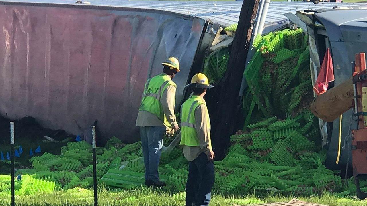 Semi Loaded With Eggs Overturns In Sapulpa Crash