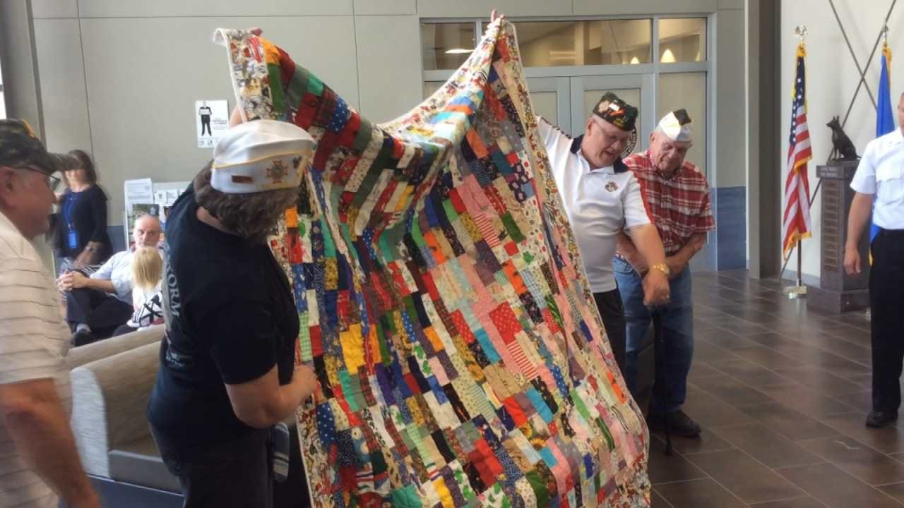 BA VFW Post Donates Handmade Quilts To Fire Department