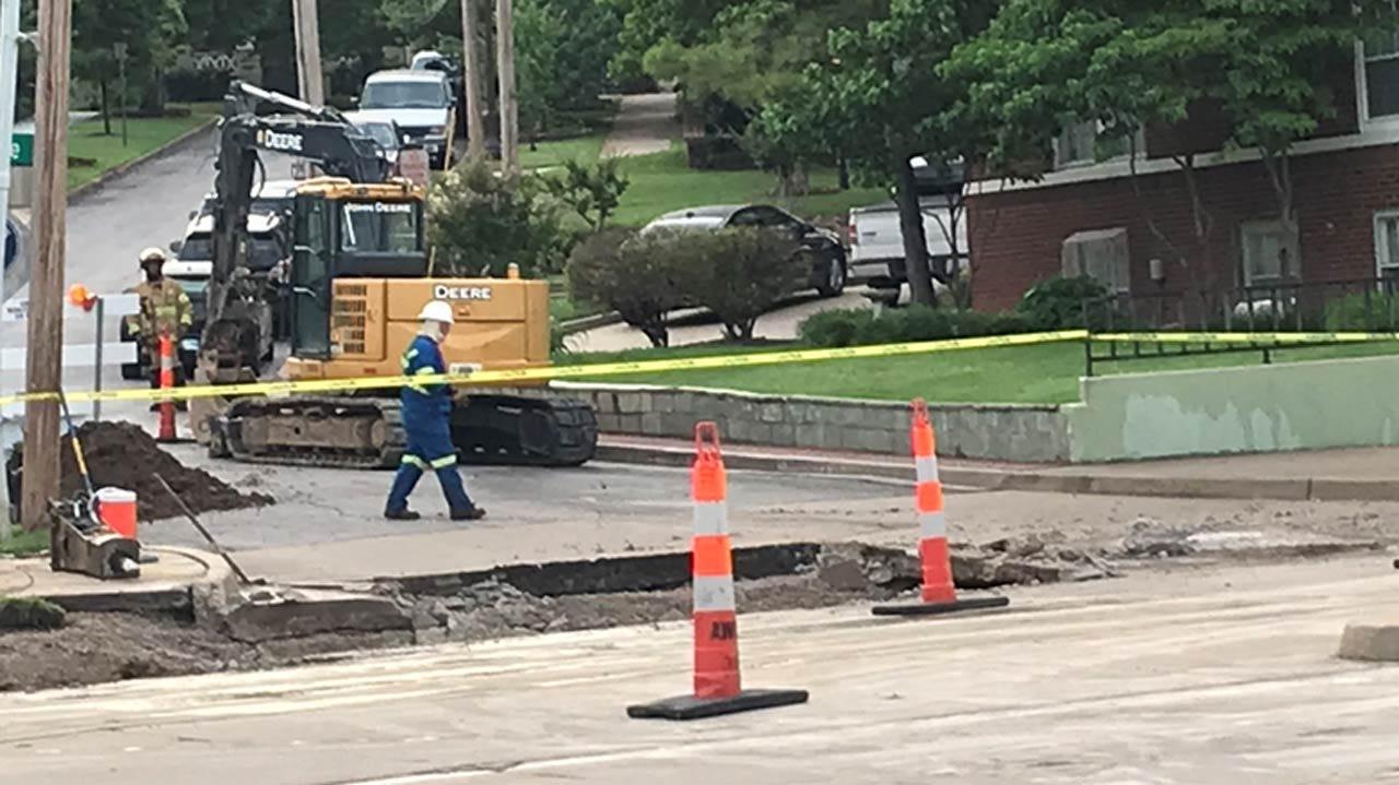 Natural Gas Line Cut During Tulsa Water Main Repair