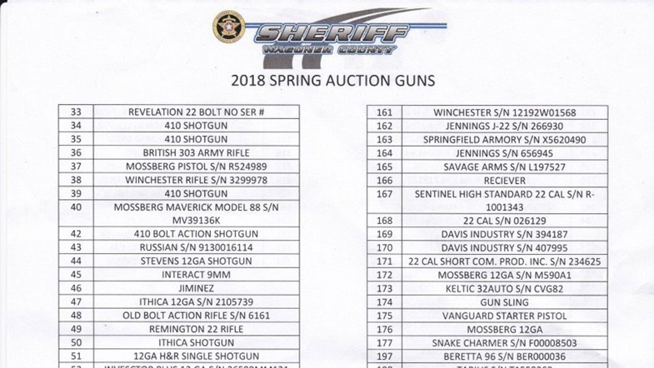 Wagoner County Sheriff's Office To Hold Auction