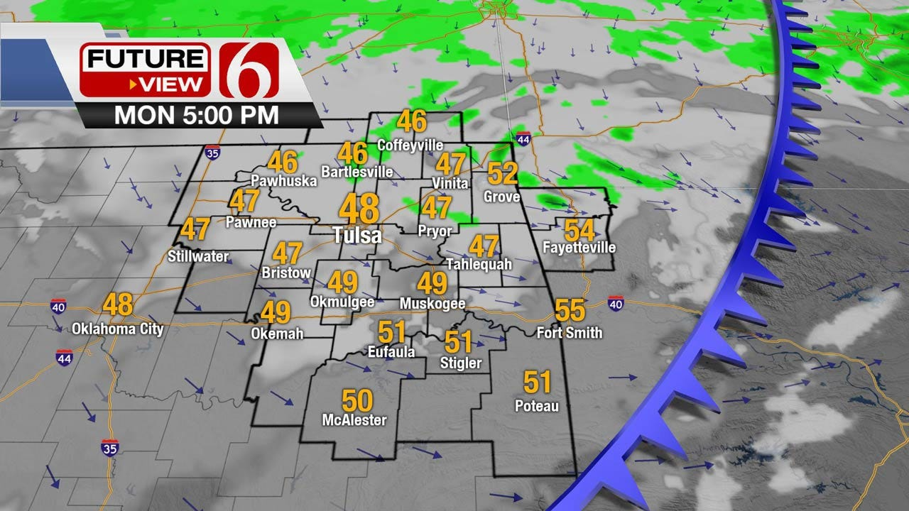 Showers With Falling Temps Across Northeast Oklahoma