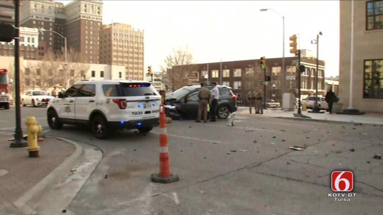 Police Chase Ends In Crash In Downtown Tulsa
