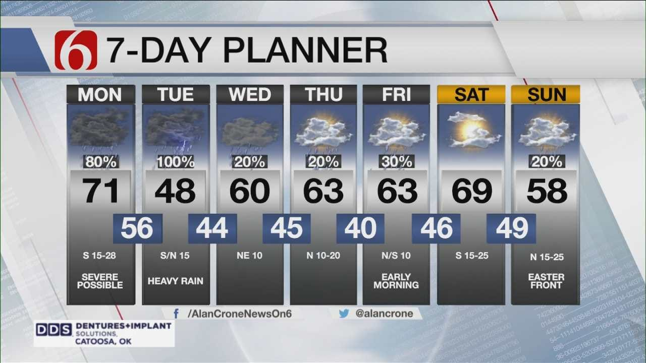 Rain & Thunderstorms Monday Across Green Country