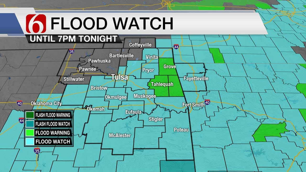 Flood Watch Continues Tuesday For Eastern Oklahoma