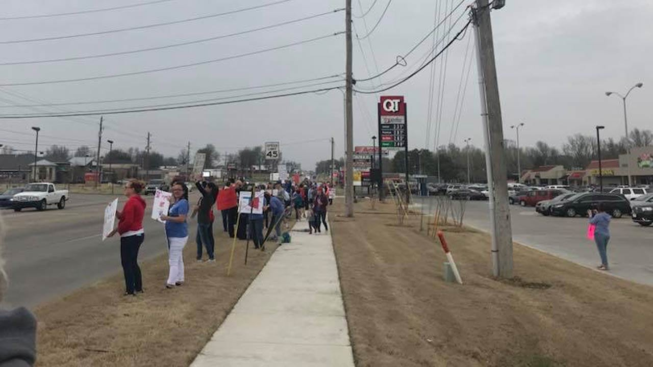 People Showed Their Support For Education Along Bixby Street